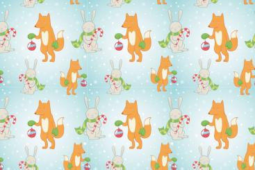 Christmas Fox and Rabbit - Allround-Stoff