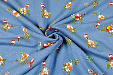French Terry Modal - Birdy Flowers - Blau