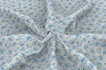 Voile-Gardinenstoff - Wiesenblümchen - Weiß/Hellblau