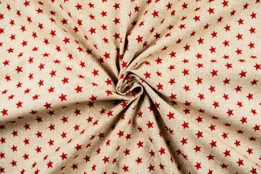 Dekostoff in Leinenoptik - Sterne - Rot