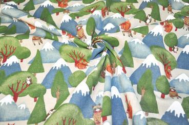 Dekostoff Leinen-Look - Winter Forest