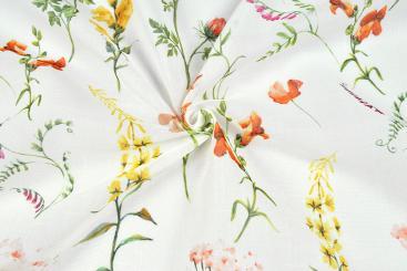 Gardinen-Stoff transparent - Liesels Blumenwelt