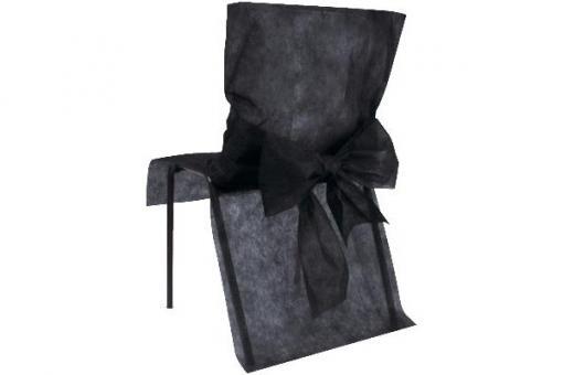 Stuhlhusse Vlies mit Schleife Schwarz