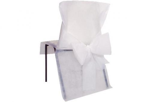 Stuhlhusse Vlies mit Schleife Weiß
