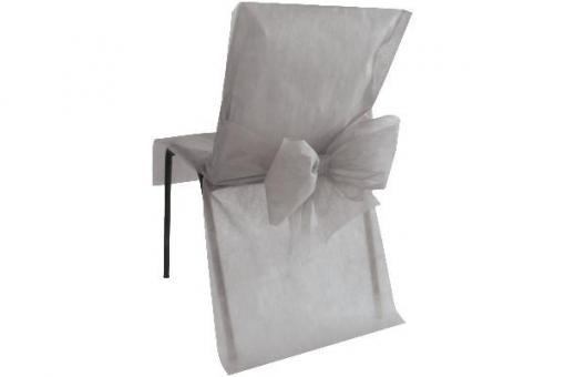 Stuhlhusse Vlies mit Schleife Grau