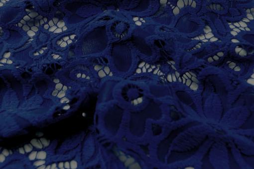 Elastik-Spitze - große Blumen Blau