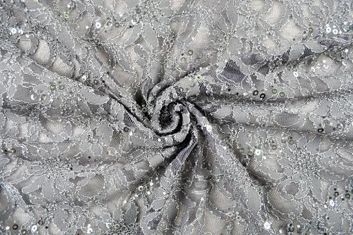 Spitzenstoff mit Pailletten Grau