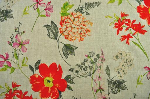 Leinen-Dekostoff - Wildblumen