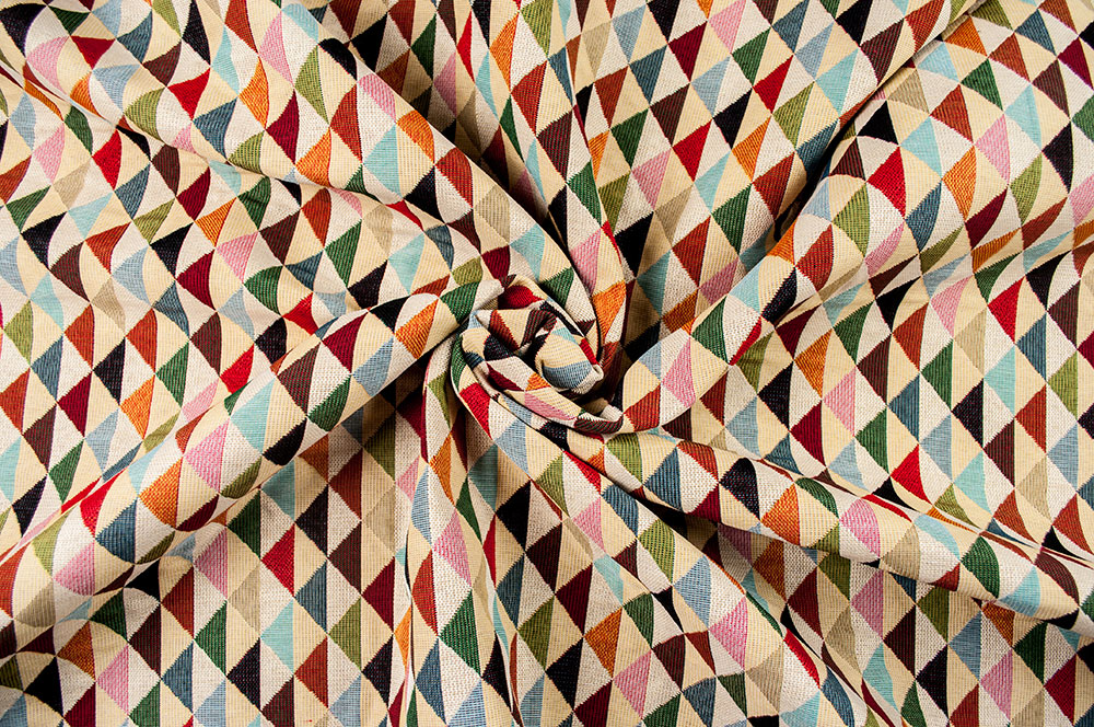 Dreiecke natur-mehrfarbig 140cm Dekostoff Jacquard